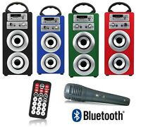 ALTAVOZ PORTATIL INALAMBRICO CON BLUETOOTH USB SD AUX RADIO KARAOKE RECARGABLE