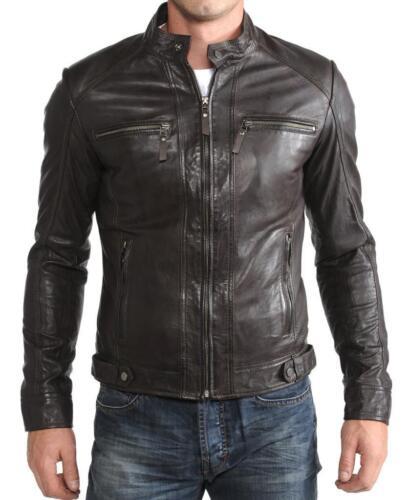 NooraMen/'s Genuine Lambskin Leather Jacket Brown Slim fit Biker jacket S20