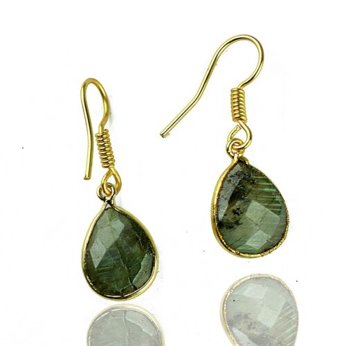 Natural Labradorite Pear Gemstone Vintage Fashion Gold Plated Hanging Earring