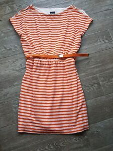 Gabby Skye Womens Dress 12 Orange White Lace Belt Cold