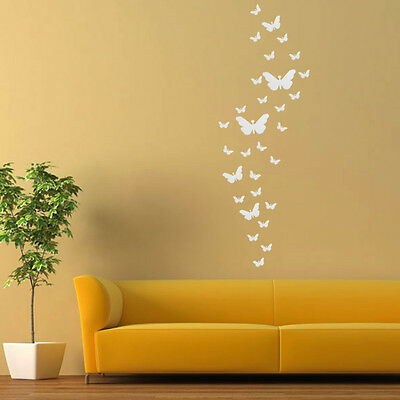 30* Butterfly DIY 3D Art Silver Acrylic Mirror Wall Sticker Home Decoration