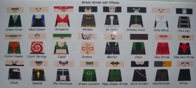 LEGO CUSTOM MINIFIG GLOSSY DECAL SET DC'S GREEN ARROW AND VILLIANS