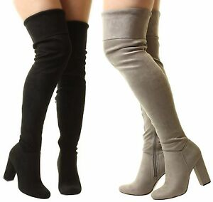 New Ladies Womens Pirate Over The Knee Wide Fit Stretchy Suede High Heel Boots