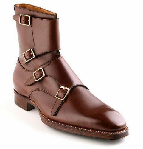 Vestido Casual Zapatos de Cuero botas para hombre hecho a mano Monje Correa Tobillo Alto ropa formal
