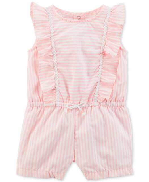 Carter/'s Striped Baby Girls Ruffle Snap Up Romper Sunsuit NWT Size 9 Months