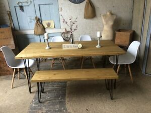 Awesome Details About 150 X 90 Industrial Dining Room Table With Hairpin Legs And A Bench And 4 Chairs Home Interior And Landscaping Eliaenasavecom