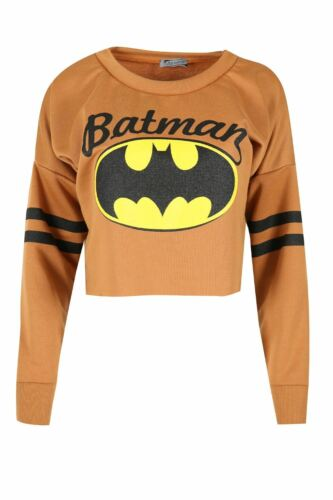 Womens Batman Stripes Raw Edges Baggy Oversized Sweatshirt Ladies Cropped Top
