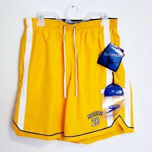 Speedo-Swim-Trunks-with-Waterproof-Pocket-Size-Large-Lined-Yellow-Board-Shorts