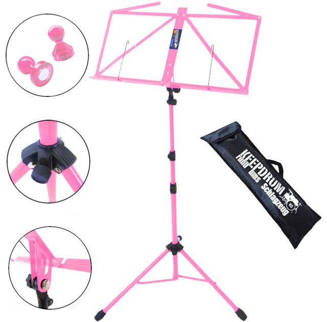 keepdrum MUS3PK Notenstaender Pink Tasche 2 Magnete