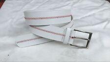 White Baseball Seam Belt Faux Leather Unisex, Men, Women, Boys, Girls - Size 38