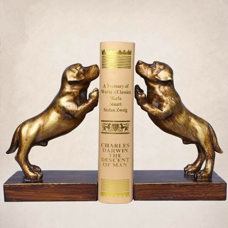 A Pair Creative  Resin Dog  Bookends Book Hold  Office Supplies American Retro R