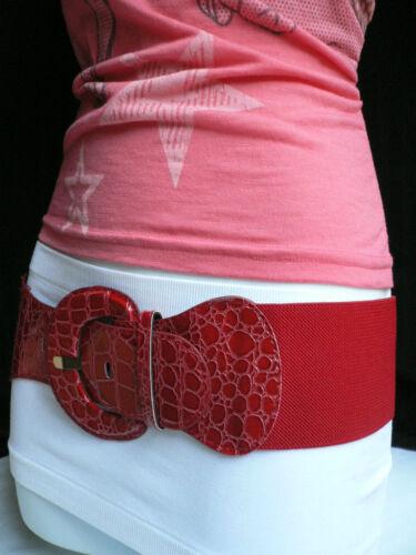 Women Red Elastic Belt Hip Stretch Band High Waist Fashion Round Buckle XS S M