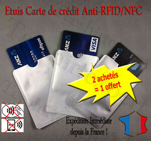 protection carte sans contact Protection carte bancaire sans contact bleu visa RFID NFC étui