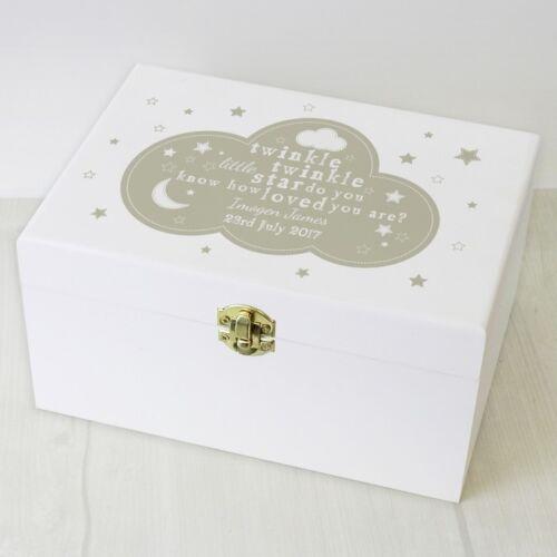 Personalised White Wooden Twinkle Twinkle Keepsake Box Christening New Born Gift