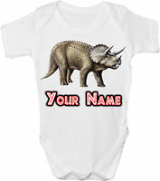 TRICERATOPS DINOSAUR PERSONALISED  BABY VEST / GRO /BODYSUIT - GIFT & NAMED TOO