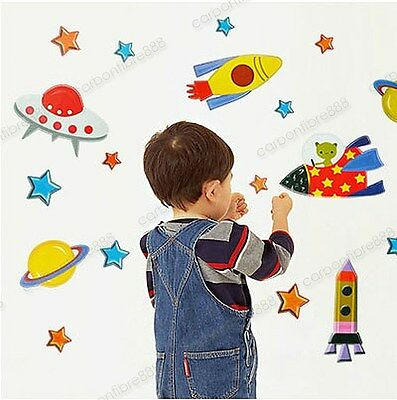 Space Ship Rocket UFO Alien Children Wall Stickers Kids Bedroom Decor Art Decal