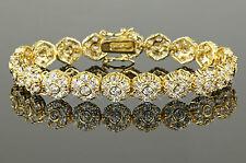 Bracelet Pour Femme 19 cm Zircon blanc Vrai plaqué or 750 18 carats B1028-1