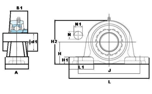 """UKP209 FYH 1 5//8/"""" Pillow Block Tapered bore with adapter Mounted Bearings"""