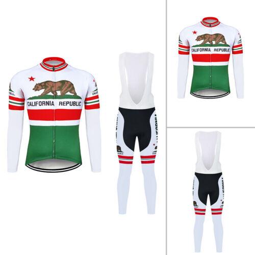 Hommes Cyclisme Maillot à Manches Longues Long Bib Pants Set Bike shirt Collants Rembourré Kits