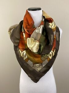 PICASSO-Silk-Large-Brown-Gold-Green-Orange-Scarf-40-in-x-40-in