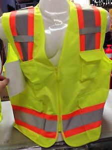LARGE-ANSI-CLASS-2-Bordered-Reflective-Tape-High-Visibility-Safety-Vest