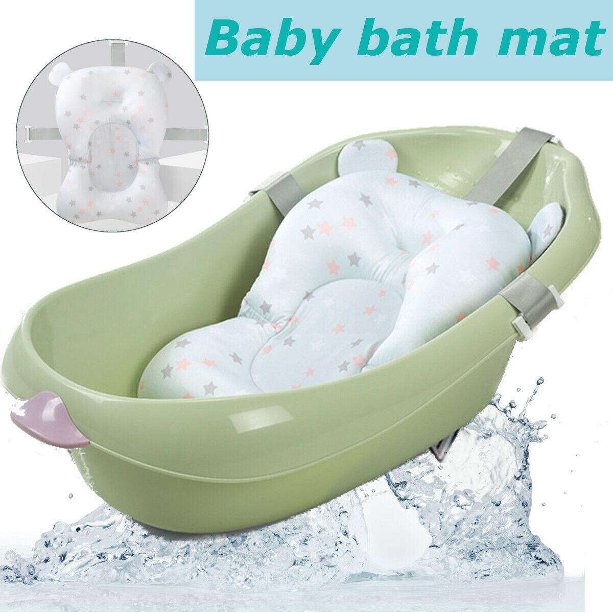 Baby Bath Pad Non Slip Bathtub Mat Pillow Newborn Safety Bath Seat Support Uk
