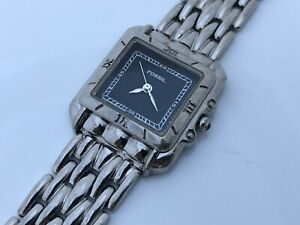 Fossil-Ladies-Watch-Analog-Silver-Tone-Metal-Band-Black-Face-Wrist-Watch
