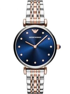 Emporio-Armani-AR11092-Women-039-s-Watch-Two-Tone-Silver-Rose-Gold-Navy-Blue-Dial