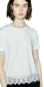 The-Kooples-White-Embroidered-Eyelet-T-shirt-Ftsmc1300-Size-XS-VR185-024