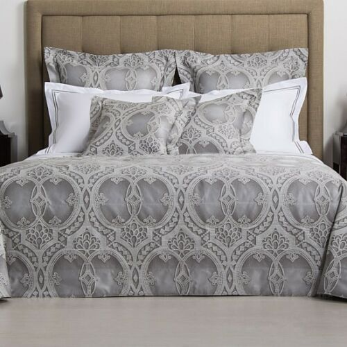 $2000 NEW FRETTE Cast Iron Grey Pearl King COVERLET + 3 euro SHAMS Quilt Blanket