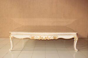 Marmor Barock Tisch Weiss Gold Barocktisch Sofatisch Couchtisch Antik
