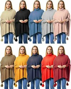 Ladies-Oversized-Italian-Lagenlook-COWL-NECK-PONCHO-Drape-Sides-POM-BOXY-Jumper