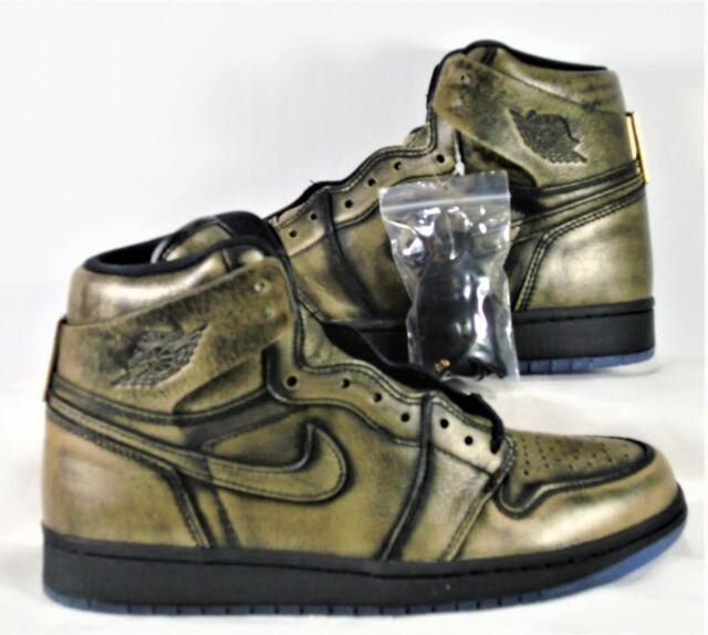 separation shoes 8480b 874ec Nike Air Jordan 1 Retro High OG Wings Black Metallic Gold Sz 8.5 NEW AA2887  035