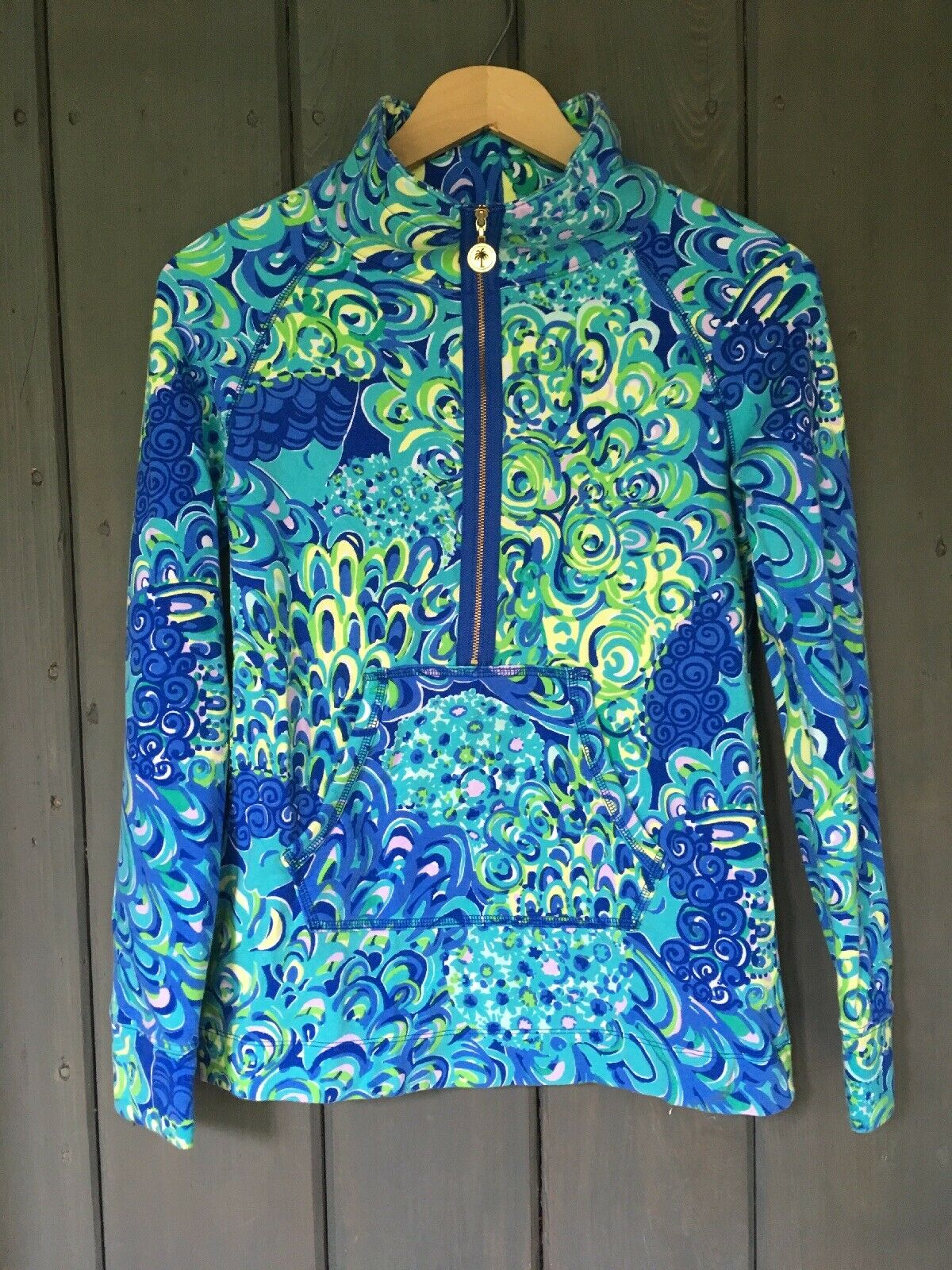 Lilly  Ladies 1 2 Zipper Skipper  Popover Shirt XXS  Lagoon bluee and Lime Green