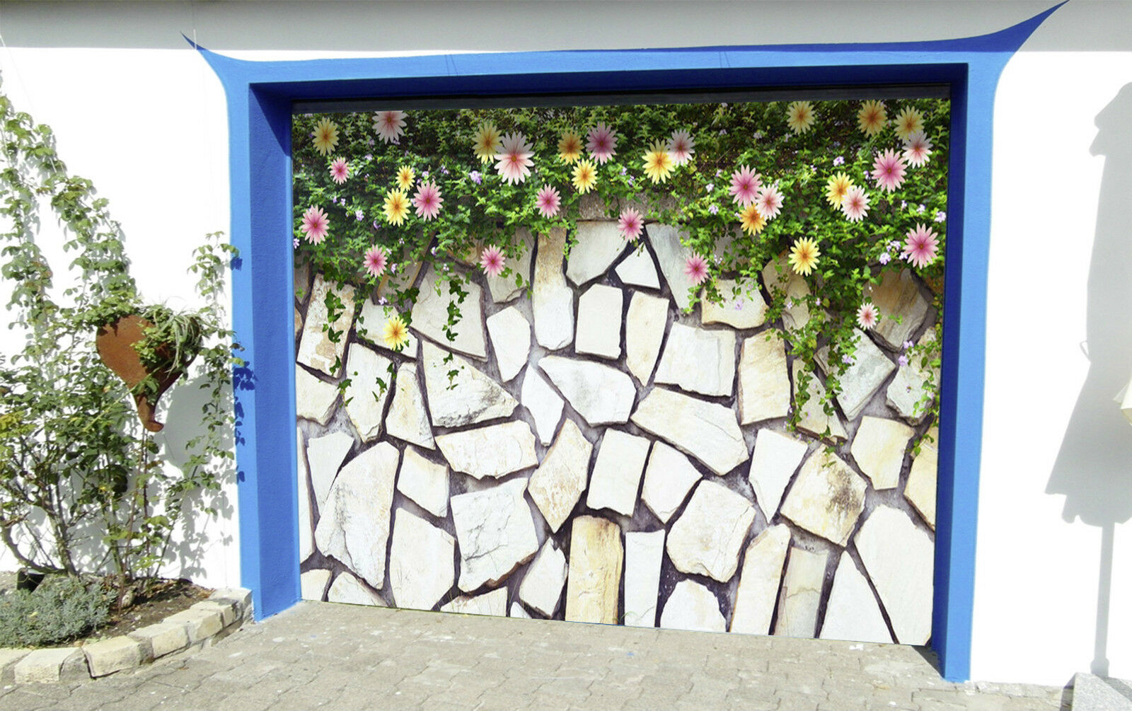 3D Fleurs Pierres Garage Door Murals Wall Print Decal Wall Deco AJ WALLPAPER FR