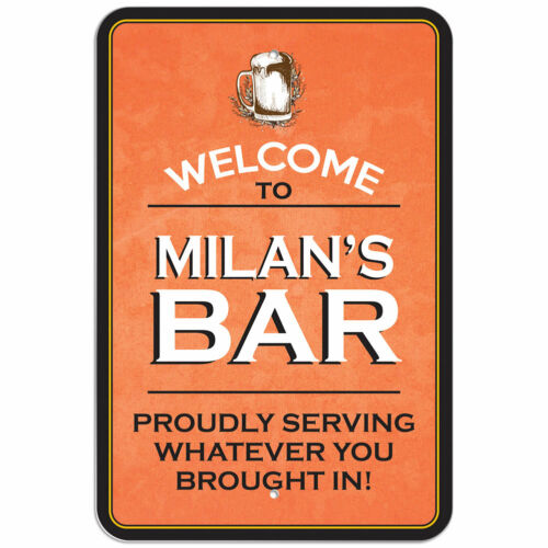 """Welcome To Bar 8/"""" x 12/"""" Plastic Sign Names Male Mi-My"""