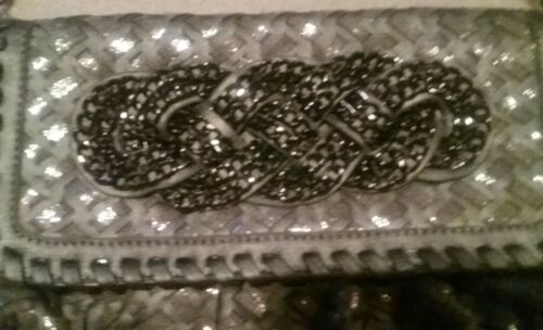 Faux Black Chain With Gray Leather Purse Accent lJc31uFTK5