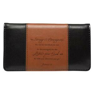 Checkbook-Cover-Be-Strong-and-Courageous-Black-and-Brown-Faux-Leather-Free-Ship