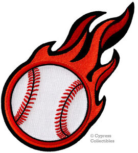 FLAMING-BASEBALL-PATCH-EMBROIDERED-new-IRON-ON-APPLIQUE-SPORTS-HIGH-HEAT-new