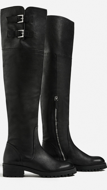NWT Zara Black Over the Knee Knee Knee Flat Leather Boots Size EUR 35   US 5 471058