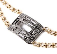 CLEAR WHITE CRYSTAL RHINESTONE SILVER GOLD Chunky Art Deco Buckle Chain Bracelet