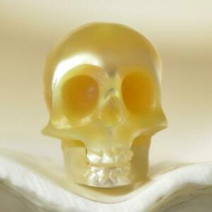 Human-Skull-Bead-Gold-South-Sea-Keshi-Pearl-Indonesia-0-88g-Hand-Carved-drilled