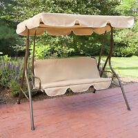 Outdoor Patio Swing Bench Yard Deck Glider Porch Canopy Metal Modern Cover