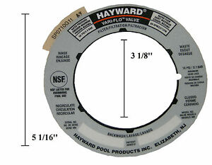 Genuine Hayward Sand Filter Valve Label Plate Sticker