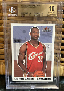 2003-04-LeBron-James-FLEER-TRADITION-ROOKIE-261-BGS-10-PRISTINE-PSA-RC-Gold