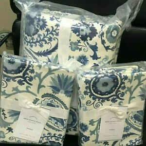 Pottery Barn Adya Linen Suzani King Floral Duvet Cover 2