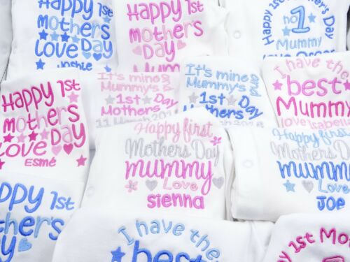 Personalised Embroidered *SLEEPSUIT* HAPPY 1ST MOTHERS DAY BABY TODDLER Gift
