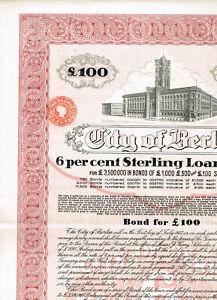 City-of-Berlin-LB-100-Sterling-Loan-of-1927-dekorativ-gelocht-VF
