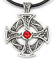 Pewter Celtic Solar Cross Druid Irish Ruby Red Crystal July Birthstone Pendant