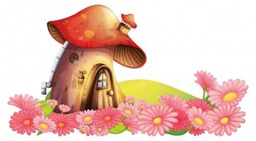 Wandtattoo Pilzhaus im Märchenwald mit Blumen Wandsticker